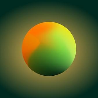 Ilustração vetorial de malha de gradiente de esfera colorida em ícone estilizado moderno de fundo verde escuro
