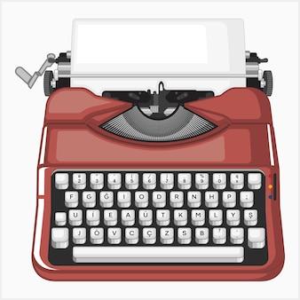 Ilustração vetorial de máquina de escrever vermelha