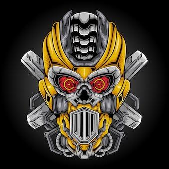 Ilustração vetorial de mascote de cabeça robótica
