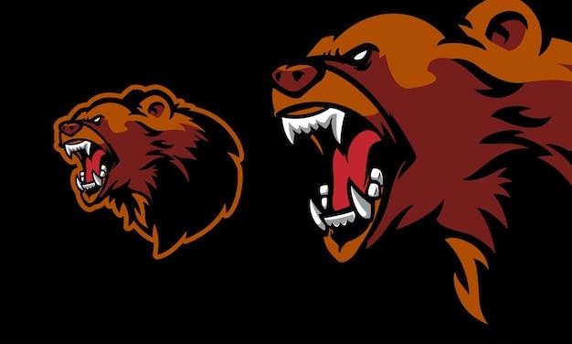 Ilustração vetorial de mascote de urso zangado