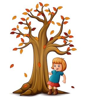 Ilustração vetorial de menina bonitinha com árvore de outono