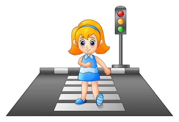 Ilustração vetorial de menina dos desenhos animados, atravessando a rua