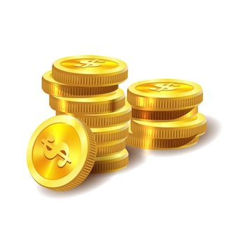 Ilustração vetorial de moedas de ouro