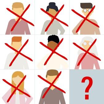 Ilustração vetorial de muitos retratos de diferentes homens e mulheres riscados. a questão é quem é o próximo