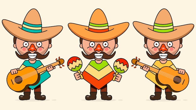 Ilustração vetorial de músicos mexicanos com três homens com guitarras em roupas nativas e vetor plana de sombrero