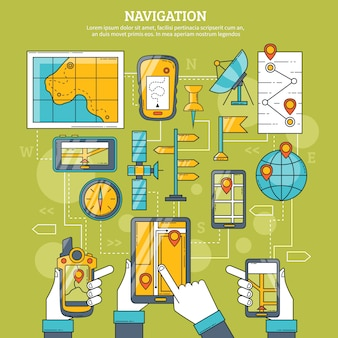 Ilustração vetorial de navegação