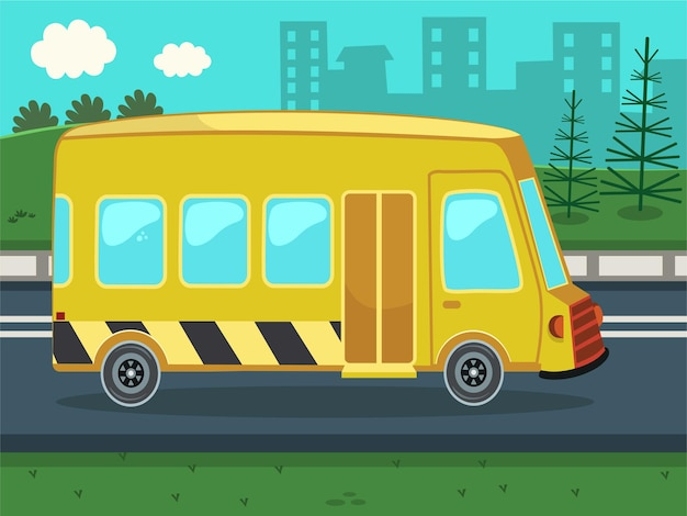 Ilustração vetorial de ônibus escolar