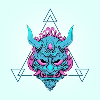 Ilustração vetorial de ornamento de máscara de demônio com cores azul e rosa