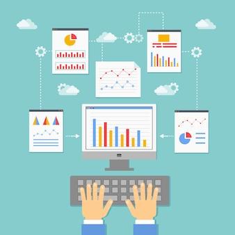 Ilustração vetorial de otimização, programação e análise de aplicativos da web