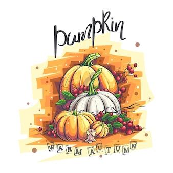Ilustração vetorial de outono com abóbora e bagas de sorveira