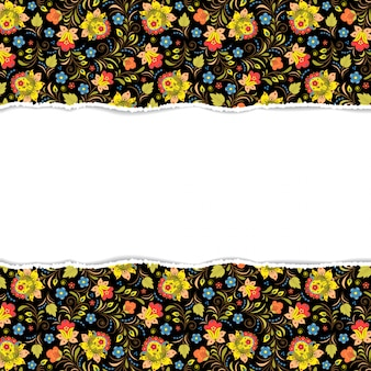 Ilustração vetorial de padrão floral com papel rasgado