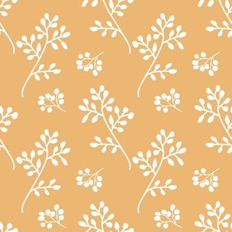 Ilustração vetorial de padrão sem emenda à base de plantas impressão floral repetida para têxteis