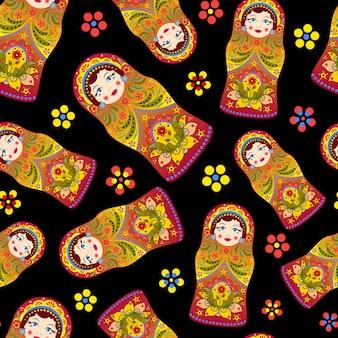 Ilustração vetorial de padrão sem emenda com bonecas russas matryoshka