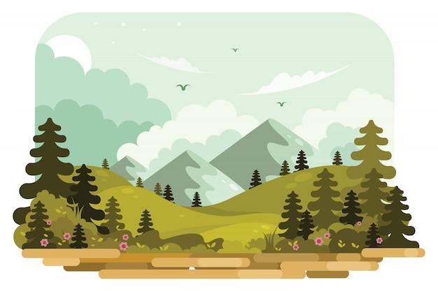 Ilustração vetorial de paisagem de montanha