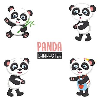Ilustração vetorial de pandas dos desenhos animados