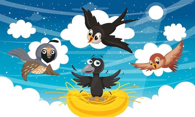 Ilustração vetorial de pássaros dos desenhos animados