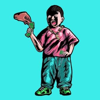 Ilustração vetorial de personagem de menino chorando