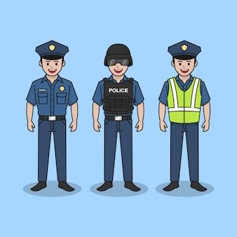 Ilustração vetorial de personagem policial