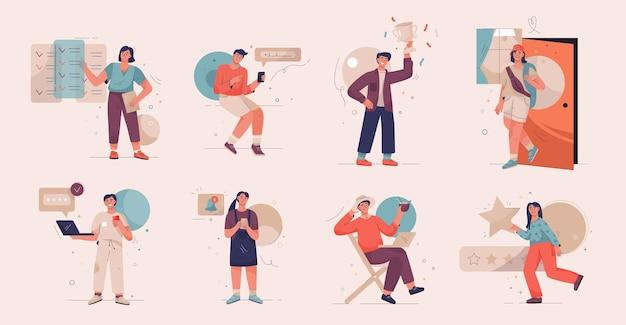 Ilustração vetorial de personagens com pessoas em diferentes cenários