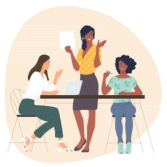 Ilustração vetorial de personagens diversos de mulheres em equipe