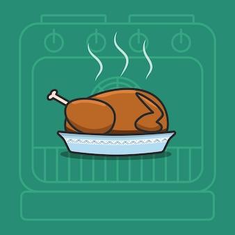 Ilustração vetorial de peru assado para o dia de ação de graças. imagem de desenho animado de comida tradicional