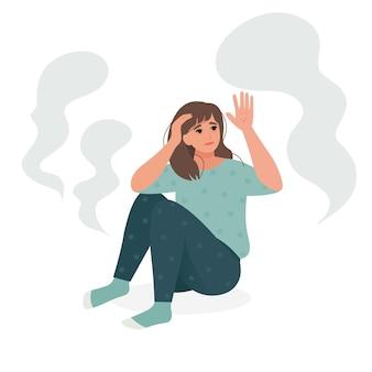Ilustração vetorial de pessoas que sofrem de esquizofrenia e alucinações