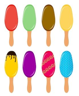 Ilustração vetorial de picolés coloridos