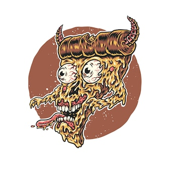 Ilustração vetorial de pizza monster