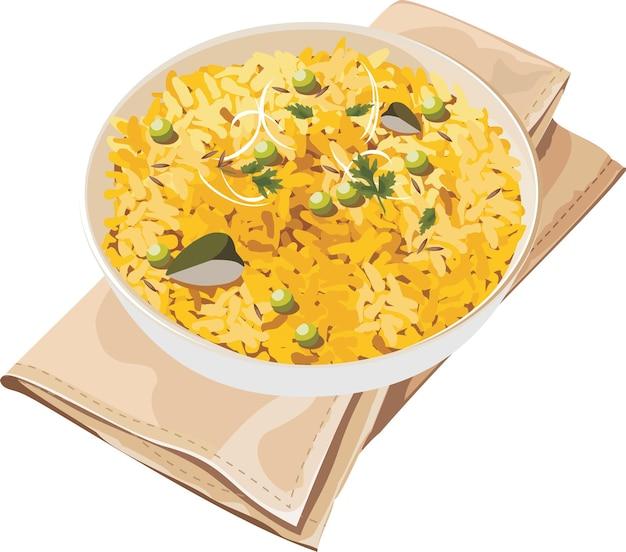 Ilustração vetorial de poha, também conhecido como pohe ou aalu pohey composto de arroz batido ou arroz achatado