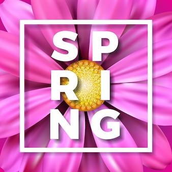 Ilustração vetorial de primavera com linda flor rosa