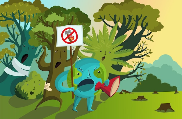 Ilustração vetorial de protesto contra o desmatamento, incêndios em massa, destruição do meio ambiente