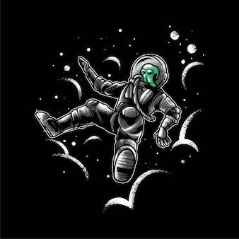 Ilustração vetorial de queda de astronautas alienígenas, adequada para camiseta, impressão e mercadoria