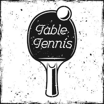 Ilustração vetorial de raquete e tênis de mesa inscrição no fundo com texturas removíveis