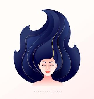 Ilustração vetorial de rosto frontal de mulher jovem e bonita com cabelo comprido, expressão corada e olhos fechados