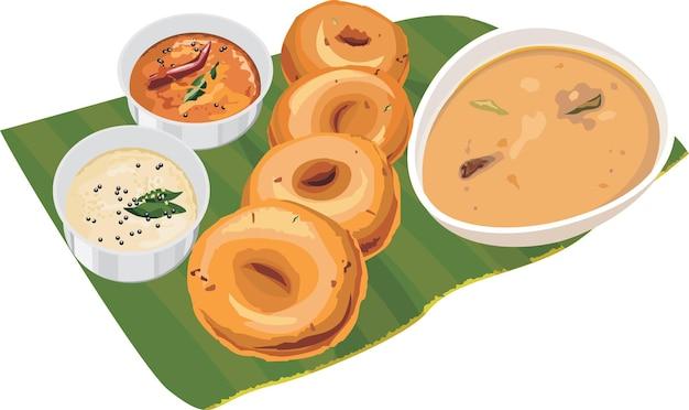 Ilustração vetorial de sambar ou medu vada sobre folha de coco com chutney