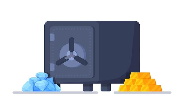Ilustração vetorial de segurança. um cofre com diamantes e ouro. recipiente para armazenamento de finanças. um cofre com fechadura. um ícone de um cofre para um banco. uma caixa com uma porta para guardar o depósito seguro.