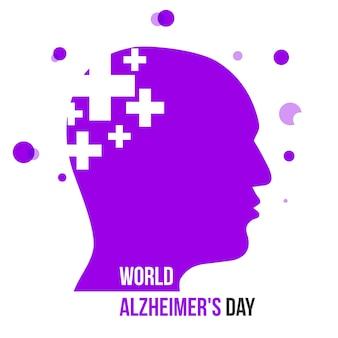 Ilustração vetorial de silhuetas com cérebro do dia mundial de alzheimer