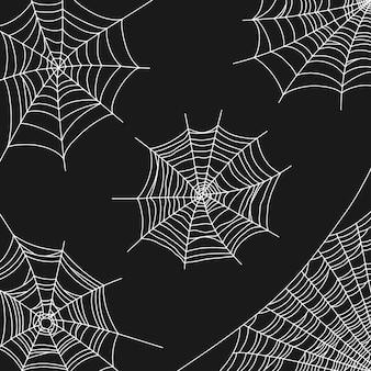 Ilustração vetorial de teia de aranha para decoração de halloween teia de aranha branca no canto de um fundo preto