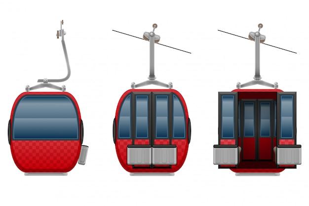 Ilustração vetorial de teleférico de esqui de cabine