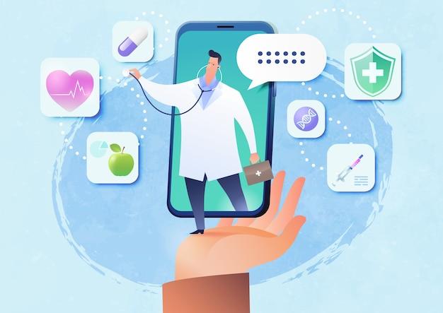 Ilustração vetorial de telemedicina com a mão do paciente segurando videochamada em smartphone