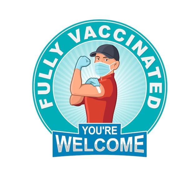 Ilustração vetorial de trabalhadores totalmente vacinados