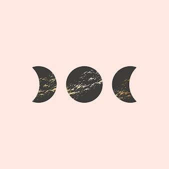 Ilustração vetorial de três fases da lua no estilo boho