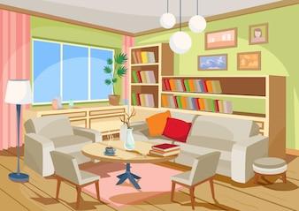 Ilustração vetorial de um aconchegante interior de desenho animado de uma sala de estar, uma sala de estar