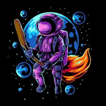 Ilustração vetorial de um astronauta voador