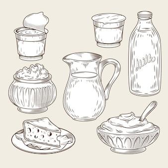 Ilustração vetorial de um conjunto de produtos lácteos com o estilo de gravura.