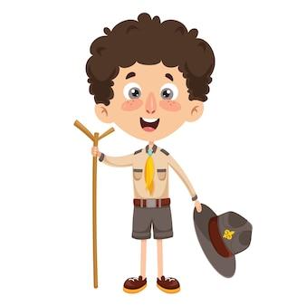 Ilustração vetorial de um garoto scout