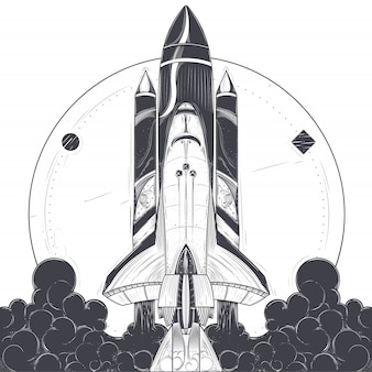 Ilustração vetorial de um lançamento de foguete espacial.