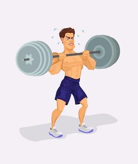 Ilustração vetorial de um levantador de peso