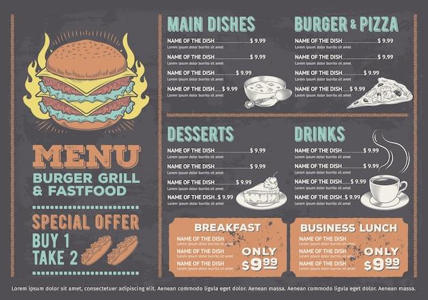 Ilustração vetorial de um menu de fast food de design, um café com gráficos desenhados à mão.