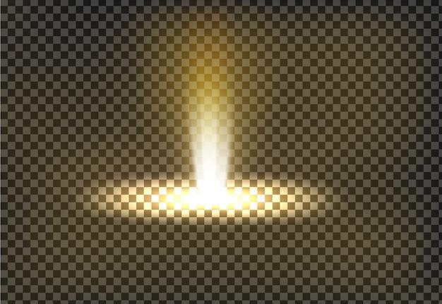 Ilustração vetorial de um raio de luz dourado, um feixe de luz